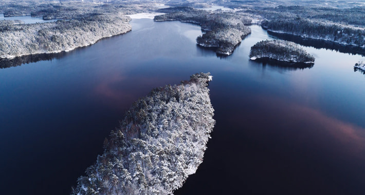 the lake Delsjön in winter